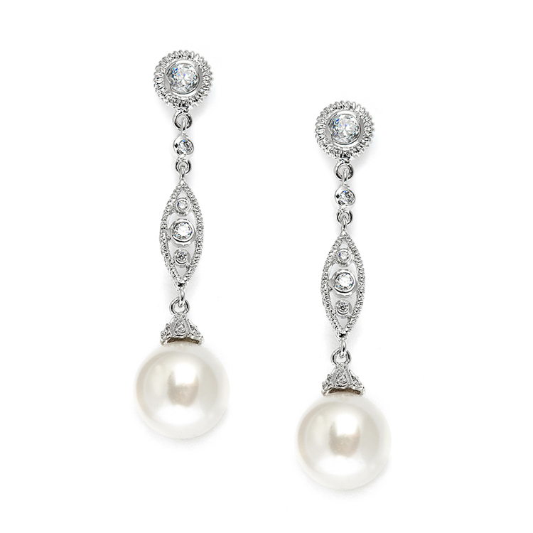 Dangle Wedding Earrings with CZ Filigree & Bold Pearl<br>3625E