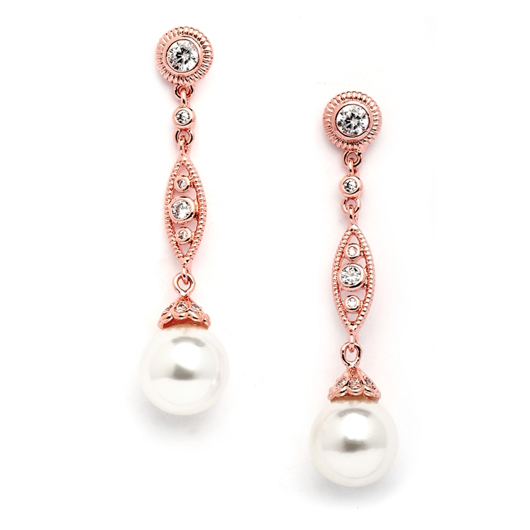 Rose Gold Dangle Wedding Earrings with CZ Filigree & Bold Pearl<br>3625E-RG