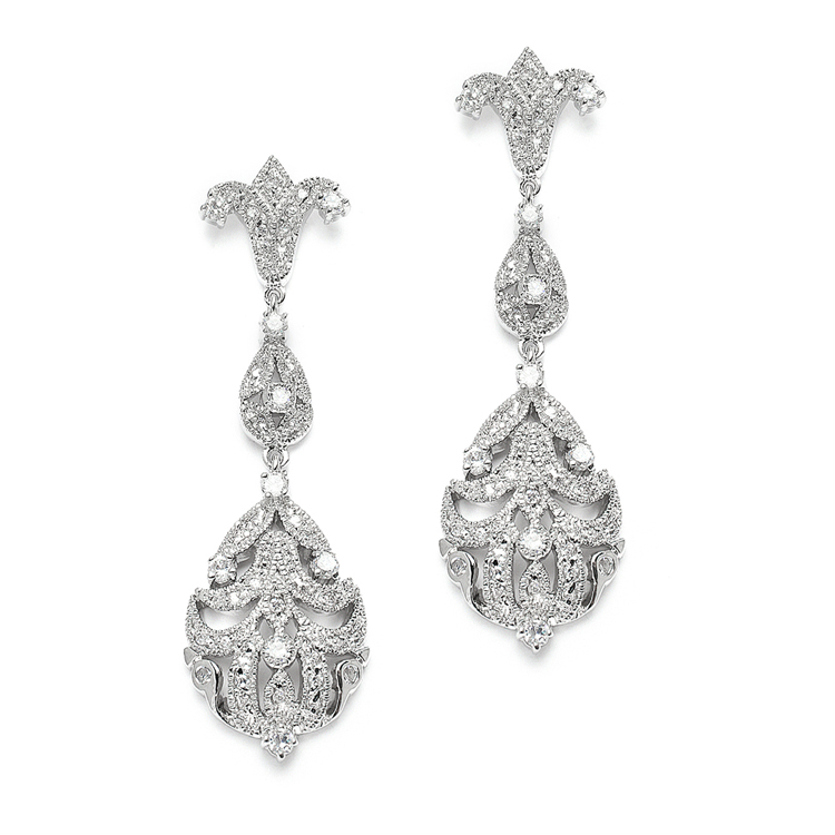 Ont Vintage Cubic Zirconia Wedding Earrings Br 3628e