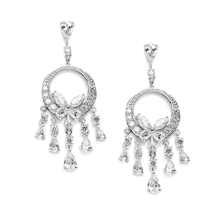 Dainty Cubic Zirconia Chandelier Earrings<br>3635E