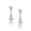 Freshwater Pearl & Cubic Zirconia Tulip Wedding Earrings<br>3638E