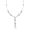 Freshwater Pearl & Cubic Zirconia Tulip Wedding Necklace<br>3638N