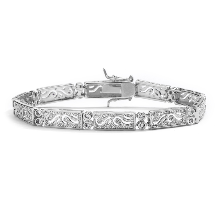 Finely Etched Faux Diamond and Platinum Cubic Zirconia Bracelet<br>363B