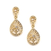 Vintage Etched CZ Wedding or Bridesmaids Drop Earrings<br>3649E-G