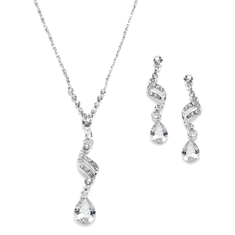 Dainty Necklace & Earrings Set with CZ Teardrops<br>3668S