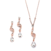 Dainty Rose Gold Necklace & Earrings Set with CZ Teardrops<br>3668S-CR-RG