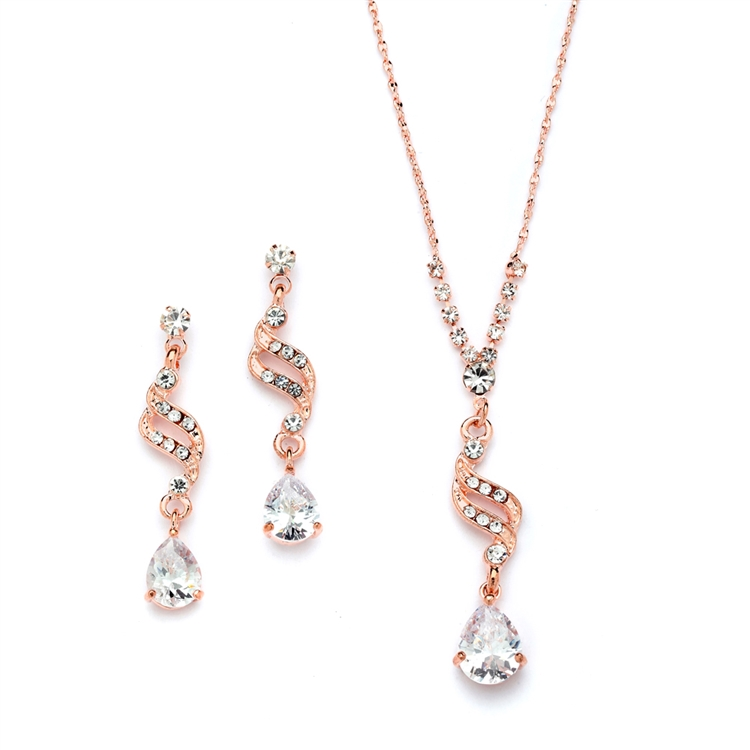 Dainty Necklace & Earrings Set with CZ Teardrops<br>3668S-CR-RG