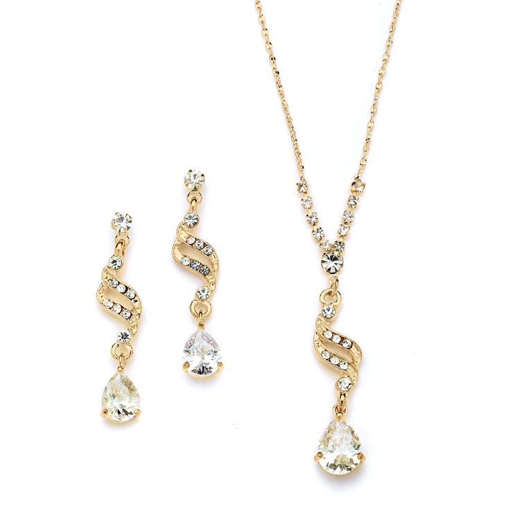 Dainty Gold Necklace & Earrings Set with CZ Teardrops<br>3668S-G