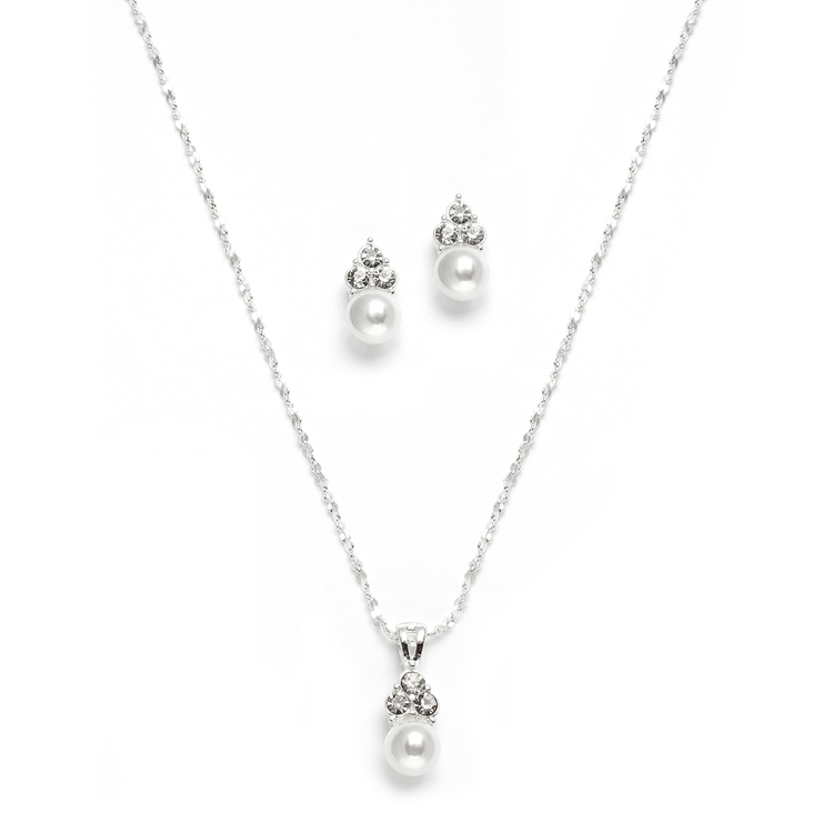 White Pearl & Crystal Wedding Necklace & Earrings<br>3671S