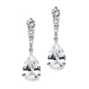Cubic Zirconia Pears Dangle Earrings with Graduated Top<br>3677E