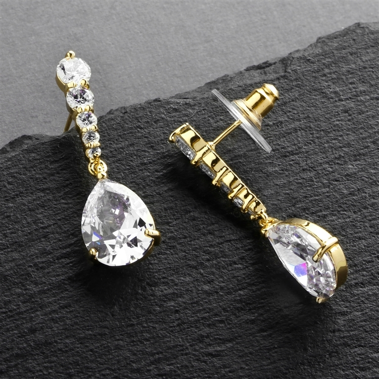 14K Gold Plated Pear-Shaped CZ Dangle Earrings with Graduated Top<br>3677E-G
