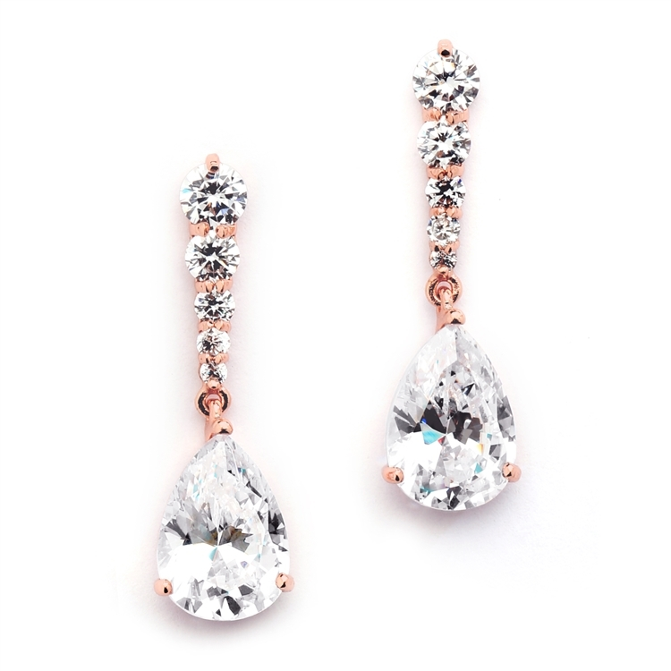 Rose Gold Cubic Zirconia Pears Dangle Earrings with Graduated Top<br>3677E-RG