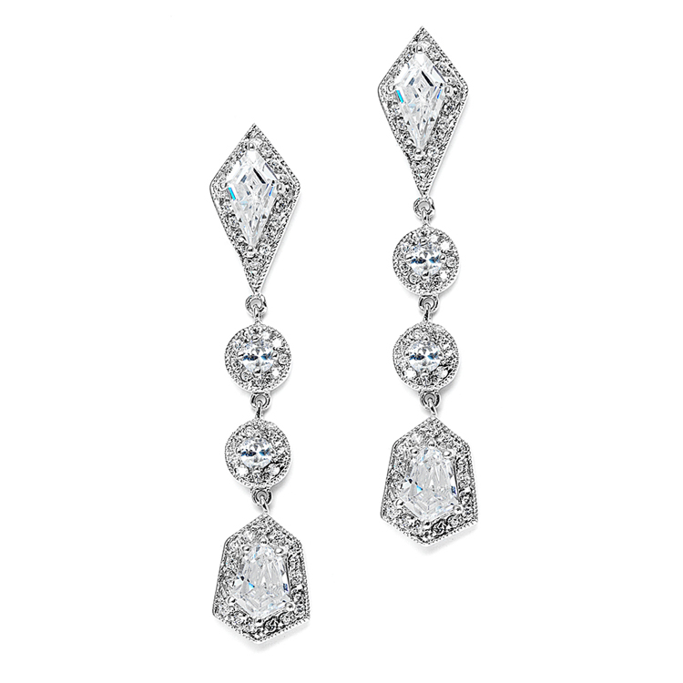 Empress & Noble Cut Cubic Zirconia Bridal Earrings<br>3696E-S
