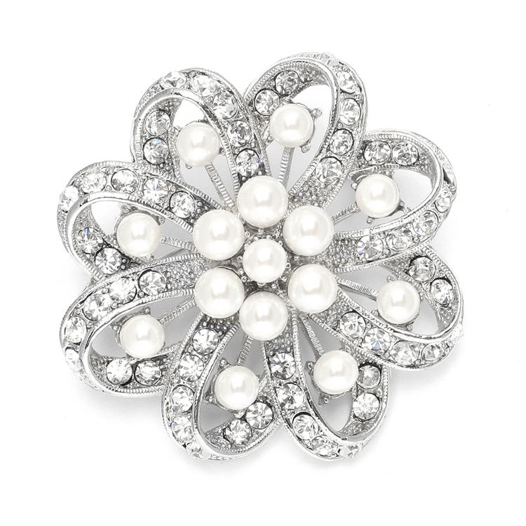 Regal Crystal & Pearl Swirl Vintage Wedding Brooch<br>3714P