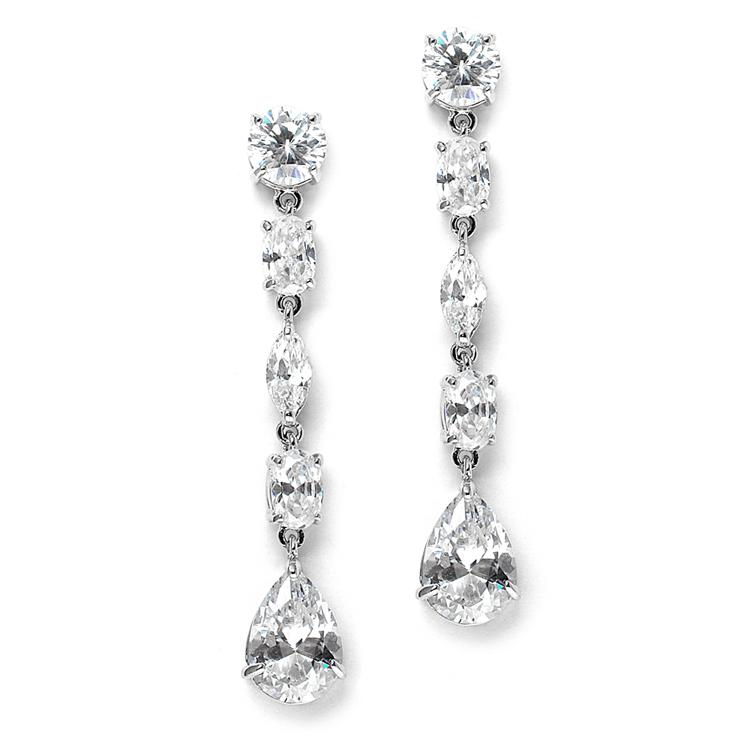 Linear Cubic Zirconia Wedding Or Prom Dangle Earrings Br 3730e