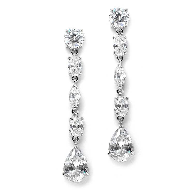 Linear Cubic Zirconia Wedding or Prom Dangle Earrings<br>3730E