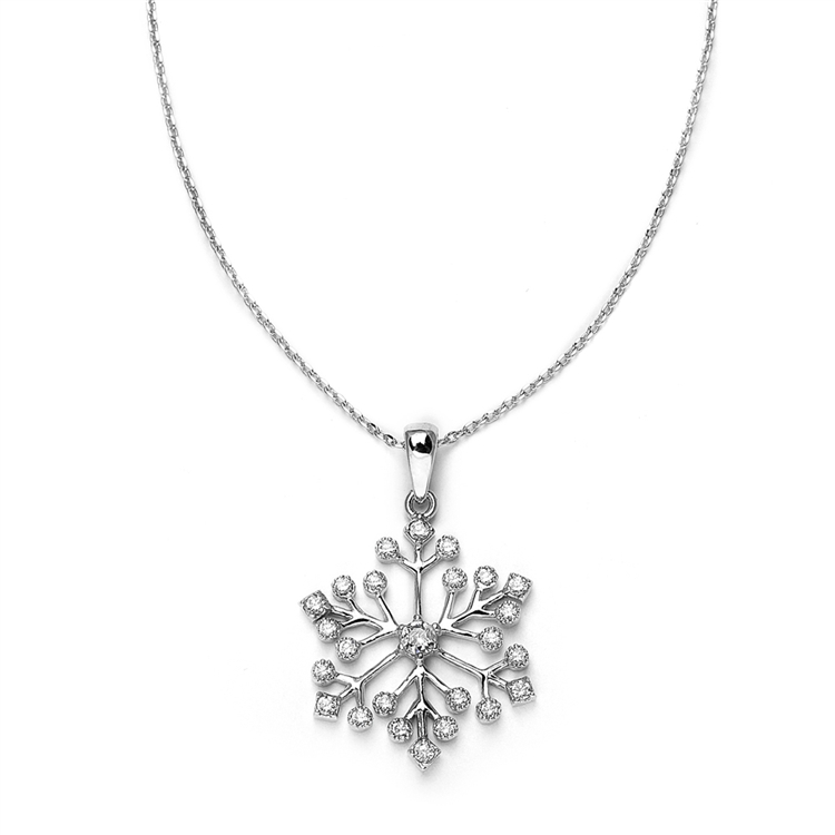 Winter Wedding Cubic Zirconia Snowflake Necklace Pendant<br>3758N