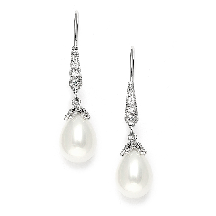 Vintage French Wire Wedding Earrings with Pearl Teardrops with CZ Pave<br>3777E