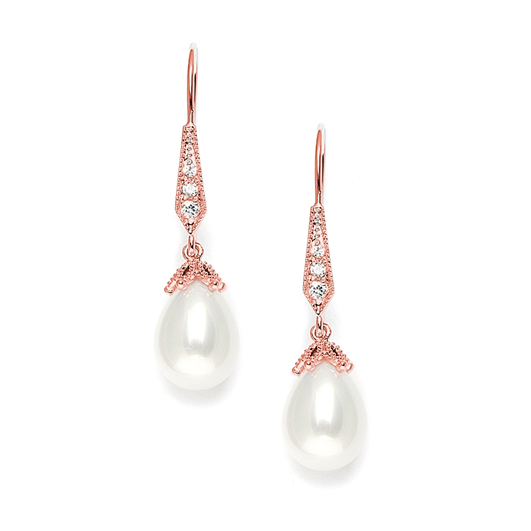 Vintage French Wire Wedding Earrings with Pearl Teardrops with CZ Pave<br>3777E-RG