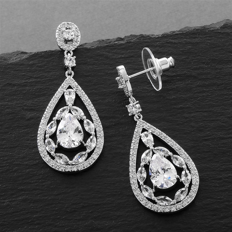 Silver Platinum Cubic Zirconia Mosaic Teardrop Bridal, Prom or Wedding Earrings<br>3784E