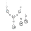 Rhinestone Prom & Bridesmaid Necklace Set with Clear Teardrops<br>3803S-CR