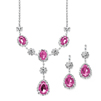 Rhinestone Prom & Bridesmaid Necklace Set with Fuchsia Teardrops<br>3803S-FU