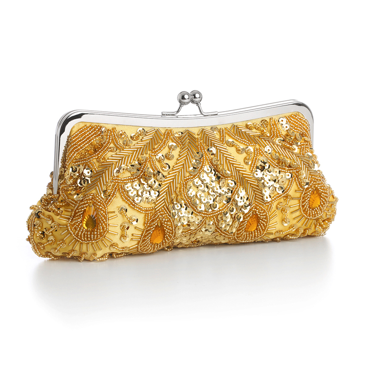 Gold Multi Evening Bag with Beads, Sequins & Gems<br>3811EB-G