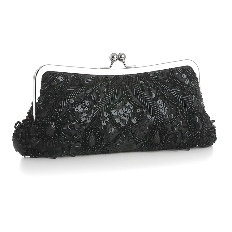 Black Multi Evening Bag with Beads, Sequins & Gems<br>3811EB-JE