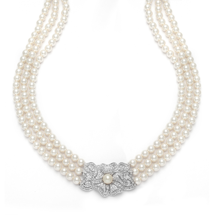 3-Row Pearl & Cubic Zirconia Vintage Wedding Necklace<br>3826N