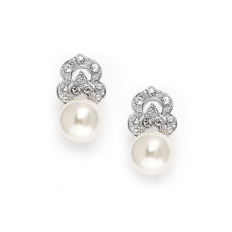 Cubic Zirconia & Soft Cream Pearl Vintage Wedding Earrings<br>3827E
