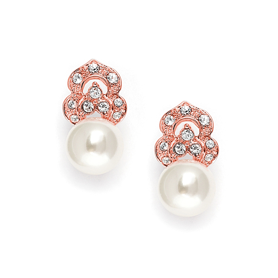 Cubic Zirconia & Soft Cream Pearl Vintage Wedding Earrings in Rose Gold<br>3827E-RG