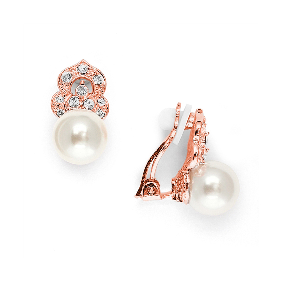 Cubic Zirconia & Soft Cream Pearl Vintage Wedding Earrings in Rose Gold<br>3827EC-RG