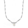 Sleek Designer Pearl & Cubic Zirconia Wedding Necklace<br>3827N