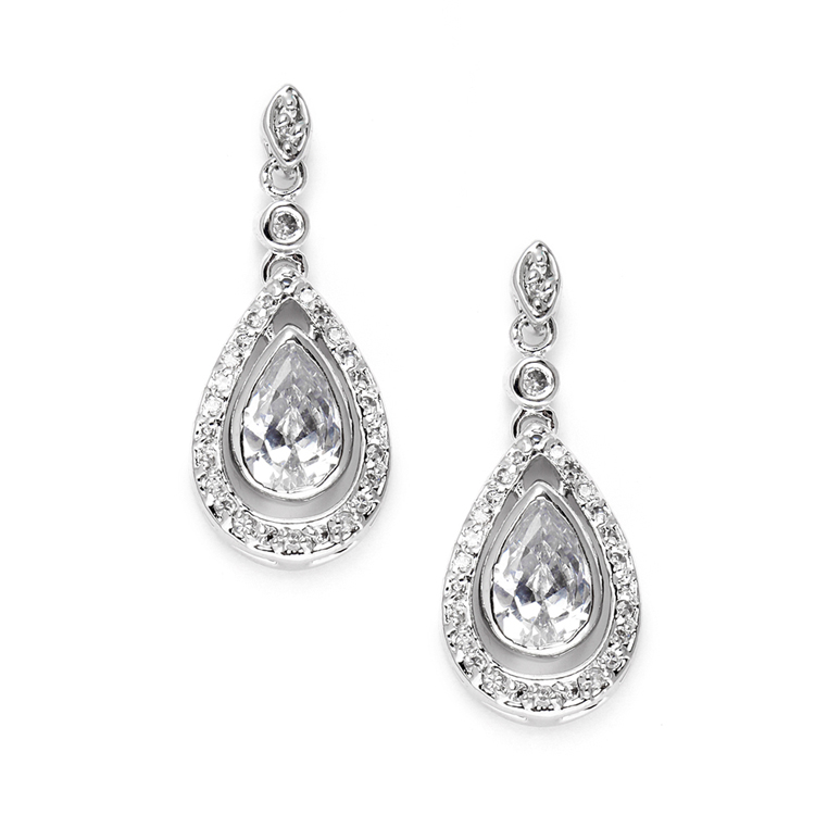 Cubic Zirconia Bridal Earrings with Pear Teardrops<br>3828E