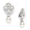 Art Deco Clip-On Wedding Earrings in Cubic Zirconia & Pearl<br>3830EC
