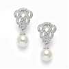 Clip-On Cubic Zirconia Braided Wedding Earrings with Pearl Drop<br>3831EC