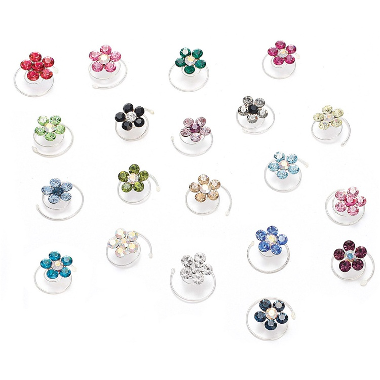 Prom or Bridesmaid Crystal Flower Hair Spirals<br>383H