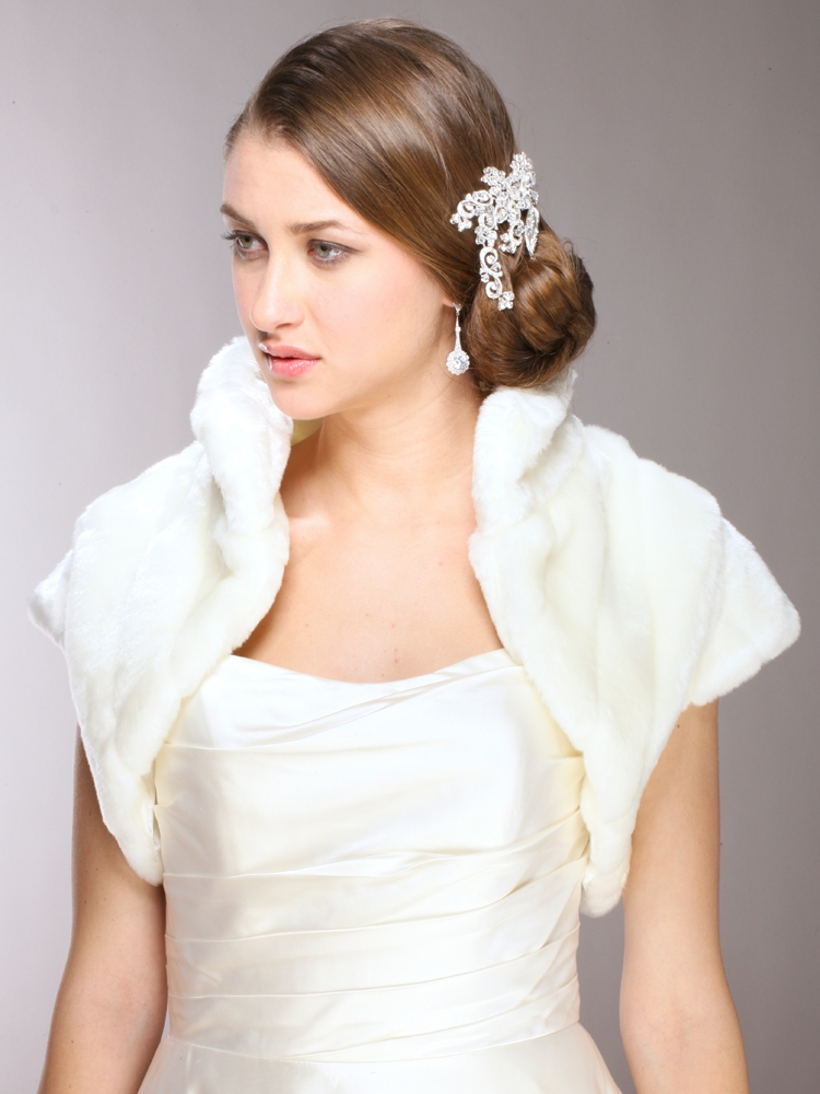 Faux Fur Pelted Bolero Jacket With Collar Mariell Bridal Jewelry