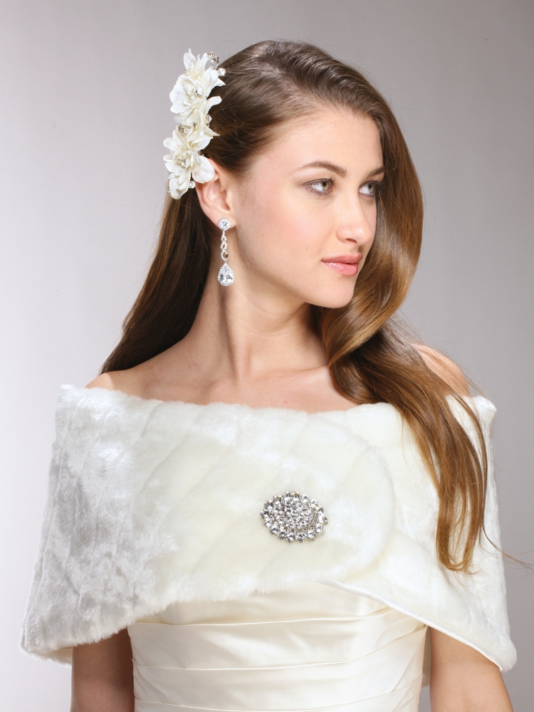 Pelted Faux Fur Bridal or Bridesmaid Vintage Wedding Wrap<br>3842W