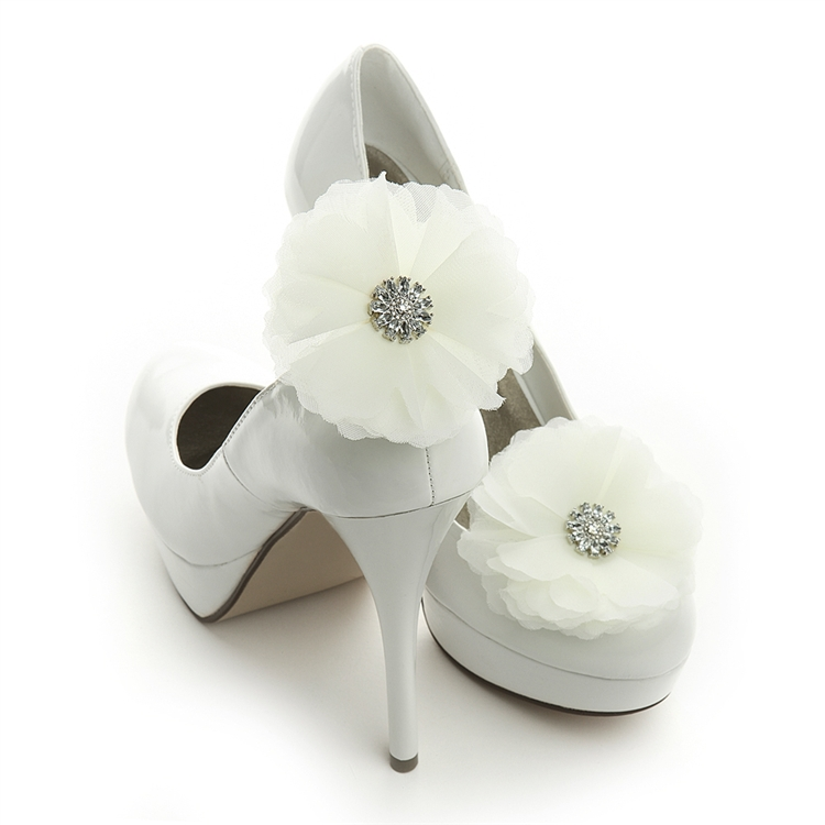 Ivory Tulle and Crystal Bridal Shoe Clip<br>3846SC