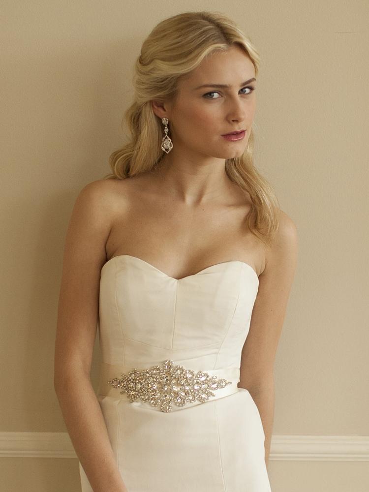 Wholesale Opulent Ivory Satin Bridal Sash With Crystal Starburst