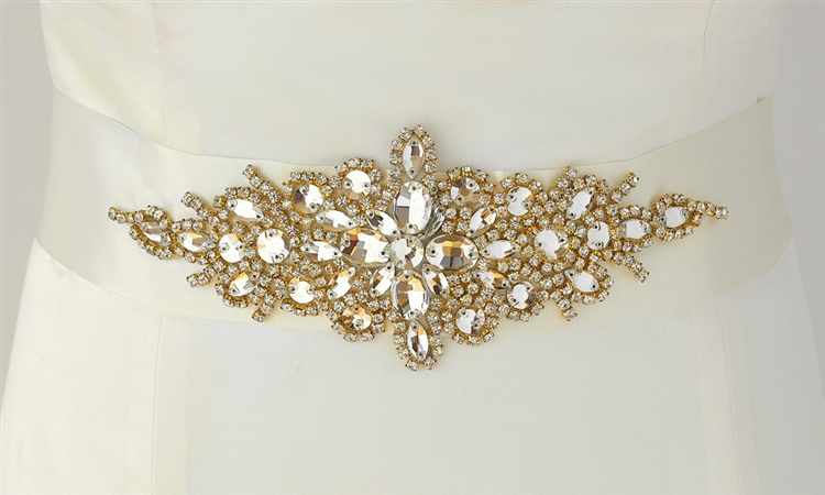 Opulent Ivory Satin Bridal Sash with Gold and Crystal Starburst<br>3886SH-I-G