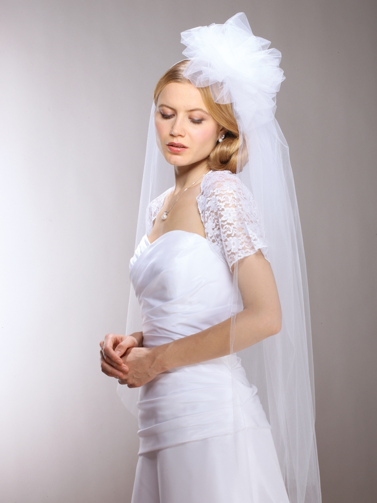 Long Fingertip  Bridal Veil with Tulle Pouf - White<br>3901V-W