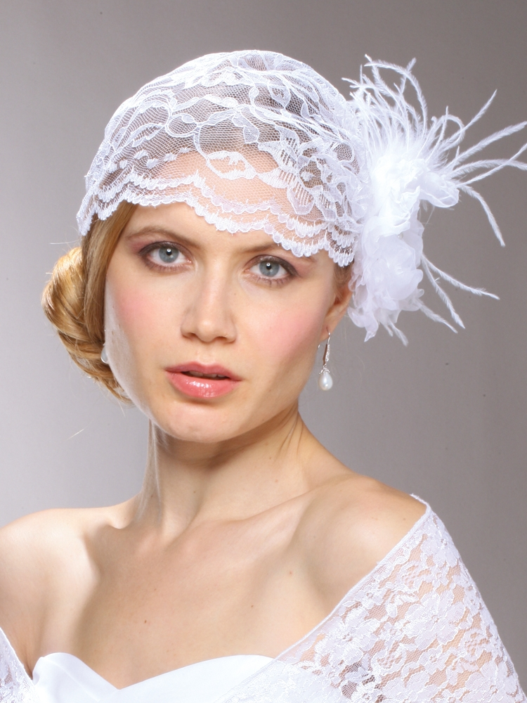 Juliet Bridal Cap with White Lace, Organza Hair Clip<br>3902V-W