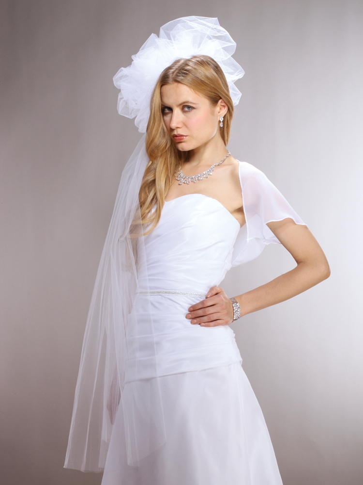 Long Fingertip White Bridal Veil with Large Tulle Pouf<br>3903V-W