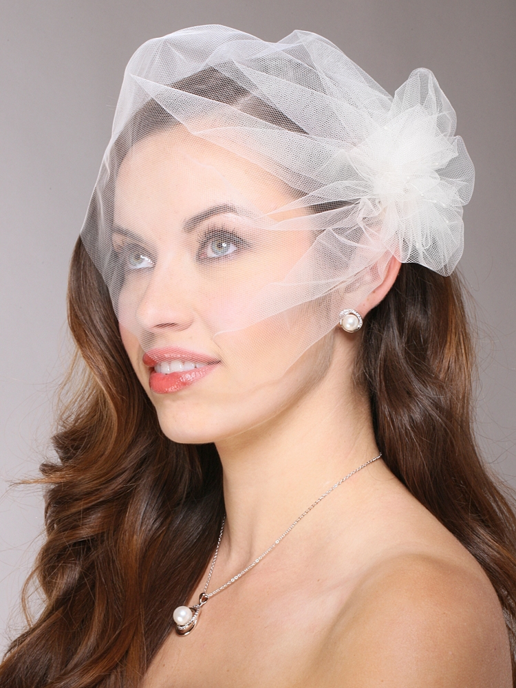 Tulle Birdcage Veil Bridal Cap with Side Pouf & Stamen Accents<br>3908V