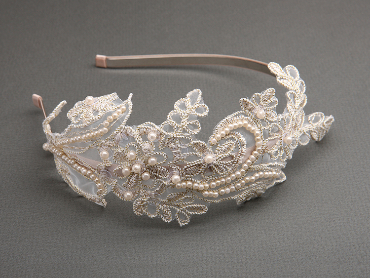 Vintage Champagne Lace Headband with Pearls & Sequins<br>3909HB-CHG