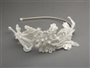 Vintage Ivory Lace Headband with Pearls & Sequins<br>3909HB-I