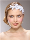 Vintage White Lace Headband with Pearls & Sequins<br>3909HB-W