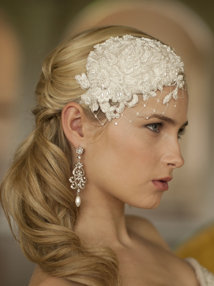 Retro Lace and Silk Bridal Cocktail Hat with Wide Netting<br>3912H-W